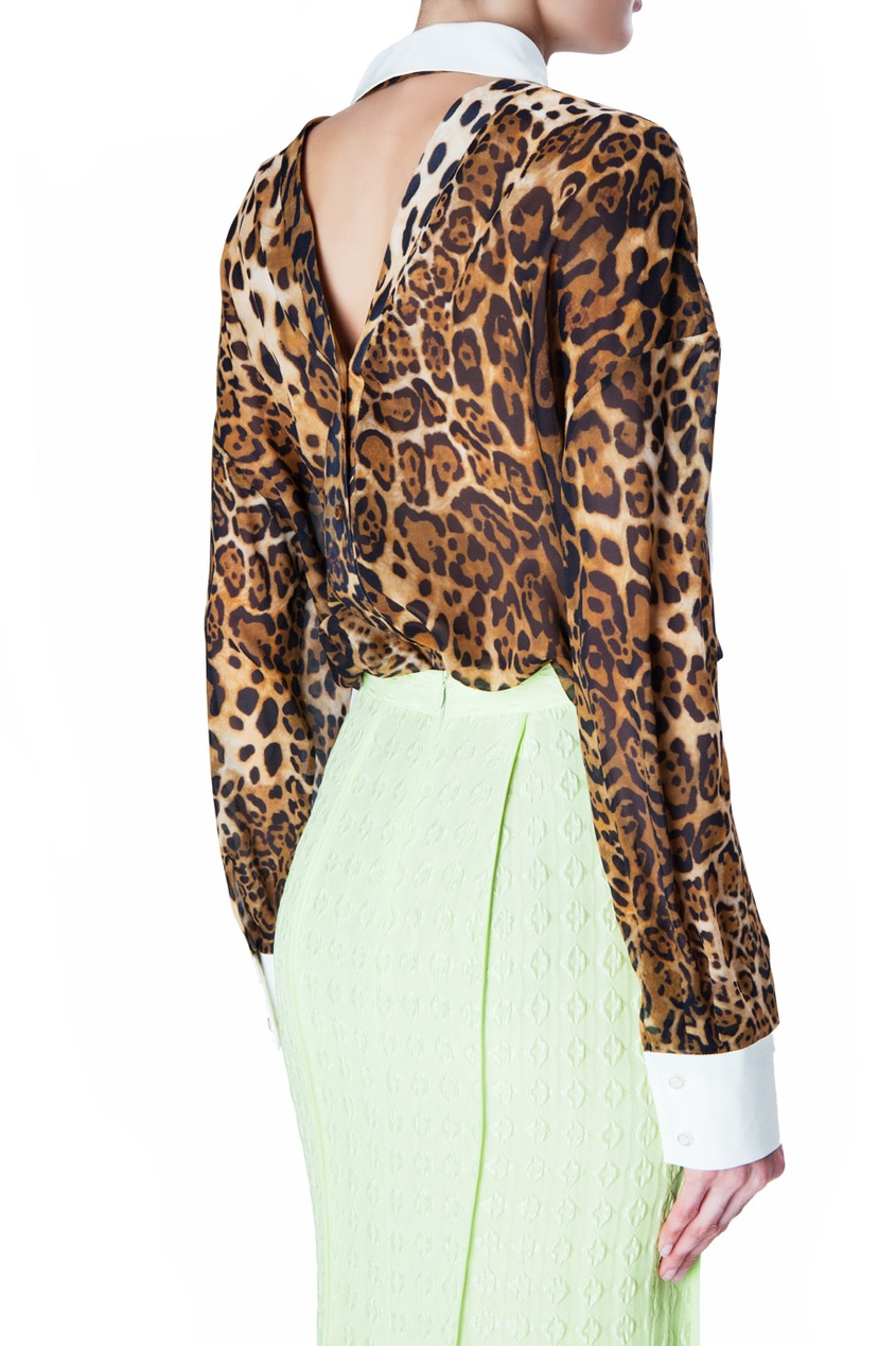 Шелковая блуза с леопардовым принтом от AIZEL